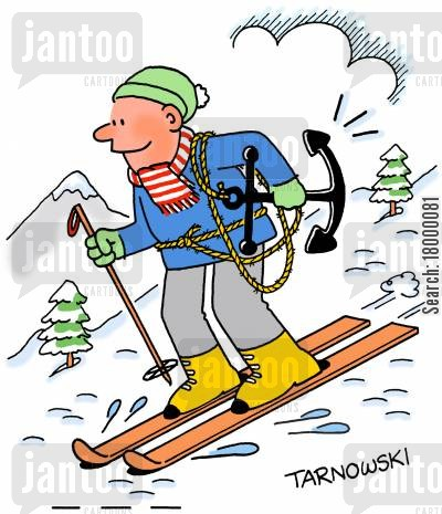 anchors cartoon humor: Skier with an anchor.