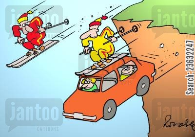 ski slope cartoon humor: Skiers - One of them is attached to the roof of a car.