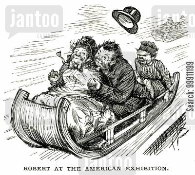 recreation cartoon humor: People on a sledge