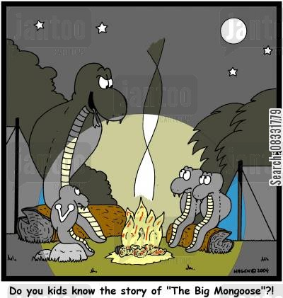 ghost stories cartoon humor: 'Do you kids know the story of 'The Big Mongoose'?!'