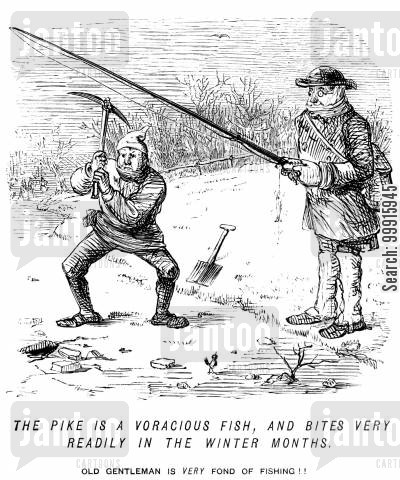 hobbies cartoon humor: Hacking through ice in order to fish