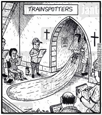 enthusiasts cartoon humor: Trainspotters a group of trainspotters outside a church taking down details of a Bride's wedding gown train