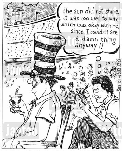 poet cartoon humor: Fan at stadium with huge hat blocks others view.