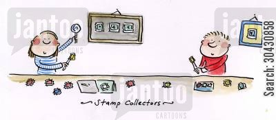 stamp collectors cartoon humor: Stamp collector.