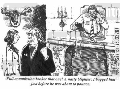 hunting trophies cartoon humor: 'Full-commission broker that one! A nasty blighter; I bagged him just before he was about to pounce.'