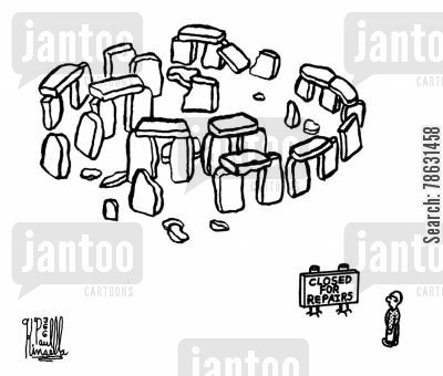 tourist attractions cartoon humor: Closed for repairs (stonehenge)