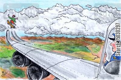 altitude cartoon humor: kid skateboards off airplane wingtip