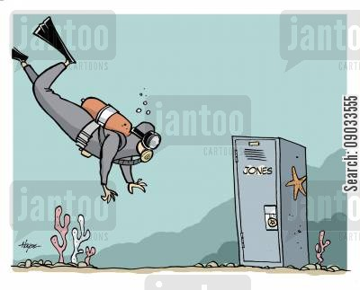 locker cartoon humor: Diver finds Davy Jones' locker.