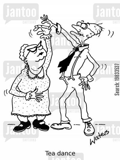 afternoon tea cartoon humor: Tea dance