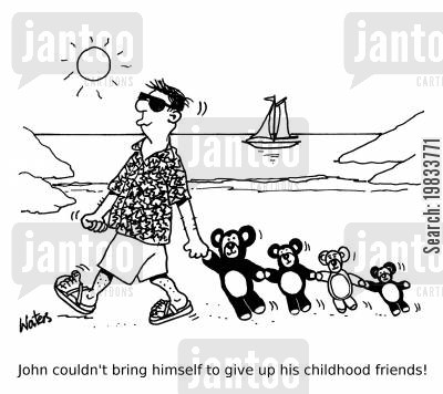 rites of passage cartoon humor: John couldn't bring himself to give up his childhood friends!