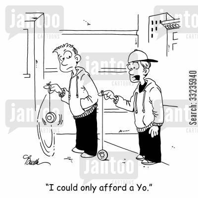 old fashioned toy cartoon humor: 'I could only afford a Yo.'