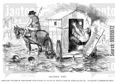 bathing machine cartoon humor: Man falling out of a bathing machine