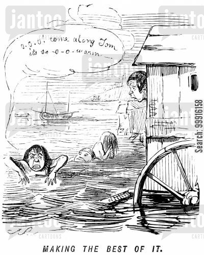 bathing machine cartoon humor: Making the best of it
