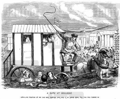 swimming costume cartoon humor: A bath at Boulogne. - Appalling position of Mr and Mrs Tomkins, who had a jib horse when the tide was coming in.