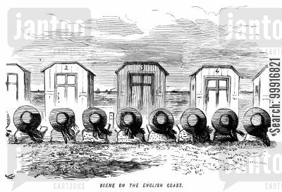bathing machine cartoon humor: Scene on the English coast.