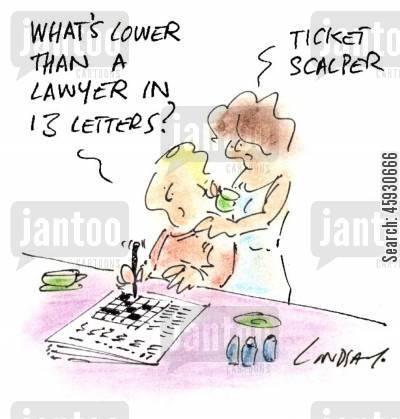 crosswords cartoon humor: What's lower than a lawyer in 13 letters?