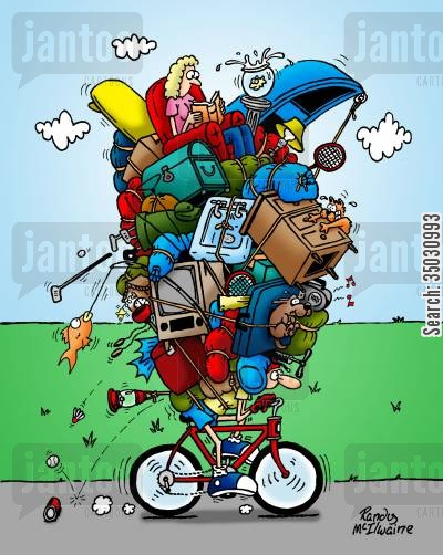 eco friendly cartoon humor: Man biking with an enormous amount of things on his back.