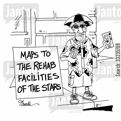 rags cartoon humor: Maps to the rehab facilities of the stars.