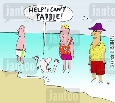 rescues cartoon humor: 'Help! I can't paddle!'