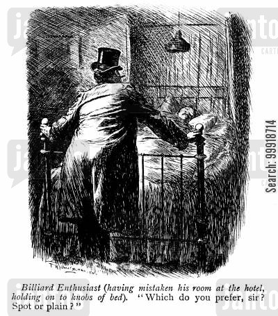 victorian hotels cartoon humor: Biliard Enthusiast