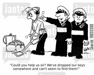metal detectors cartoon humor: 'Could you help us sir? We've dropped our keys somewhere and can't seem to find them!'