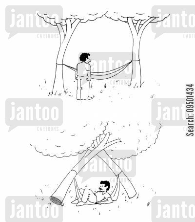 artificial cartoon humor: Man causing two fake trees to fall down by sitting in a hammock strung between them.