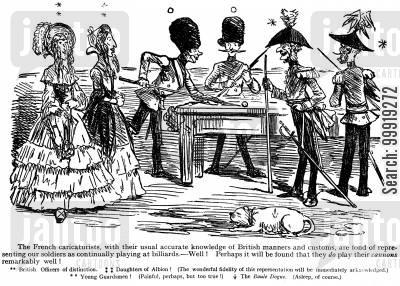 victorian officers cartoon humor: Billards.