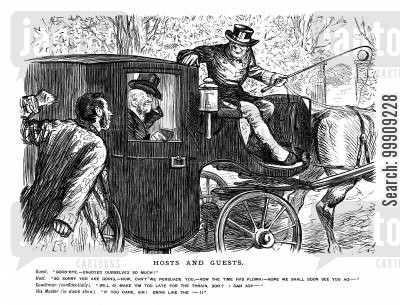 carriages cartoon humor: A Host Saying Goodbye to His Guests.