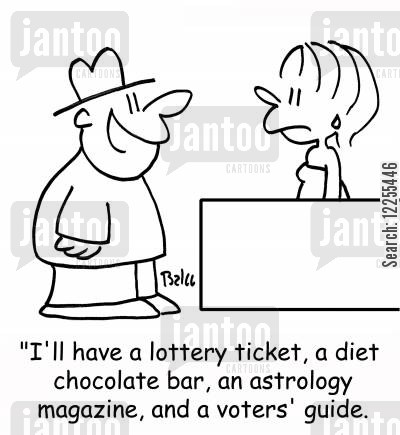 newsagent cartoon humor: 'I'll have a lottery ticket, a diet chocolate bar, an astrology magazine, and a voters' guide.'