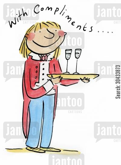 free champagne cartoon humor: With Compliments