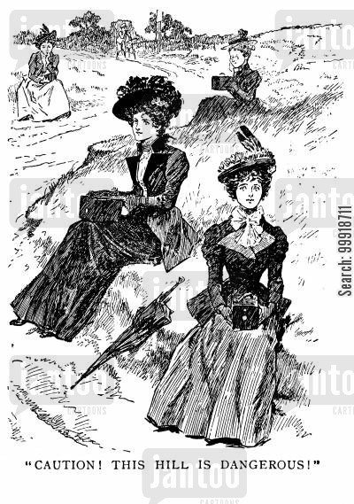 victorian values cartoon humor: 'Caution this hill is dangerous.'