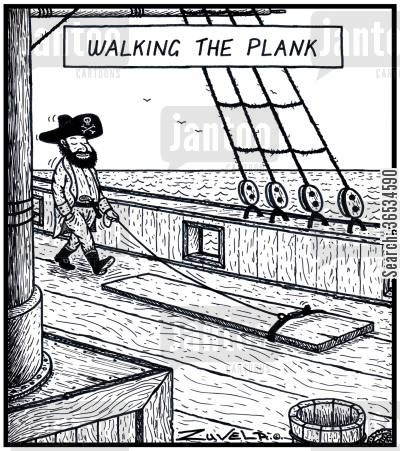 privateer cartoon humor: Walking the Plank