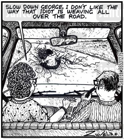 craft cartoon humor: 'Slow down George, I don't like the way that idiot is weaving all over the road.' (A guy on the road weaving a basket).