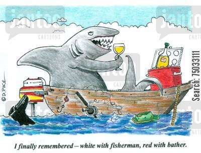 bathers cartoon humor: 'I finally remembered - white with fisherman, red with bather.'