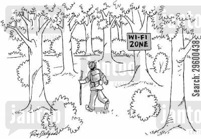 ramblers cartoon humor: Wi-fi Zone.