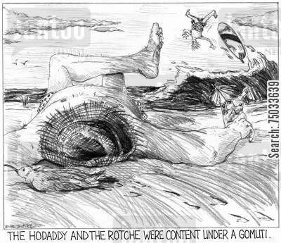 sunbath cartoon humor: 'The hodaddy and the rotche were content under a gomuti.'