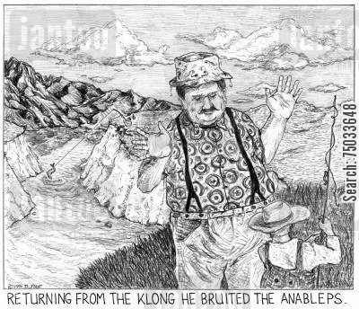 fishing spot cartoon humor: 'Returning from the klong he bruited the anableps.'