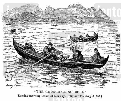 sea voyage cartoon humor: The Church-Gong Bell.