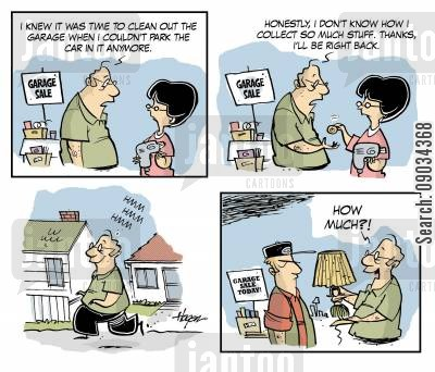 spring clean out cartoon humor: Garage Sales