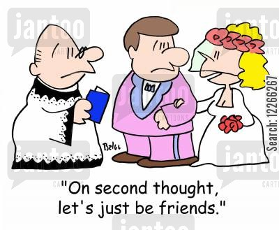 grooms cartoon humor: 'On second thought, let's just be friends.'