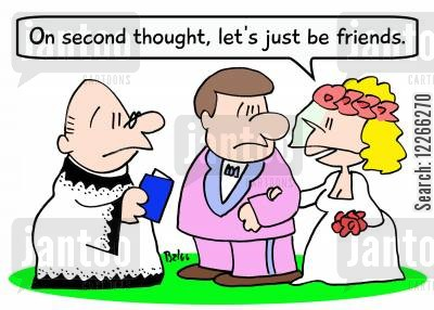 second thought cartoon humor: 'On second thought, let's just be friends.'