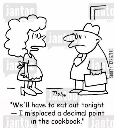 cooking disasters cartoon humor: 'We'll have to eat out tonight - I misplaced a decimal point in the cookbook.'