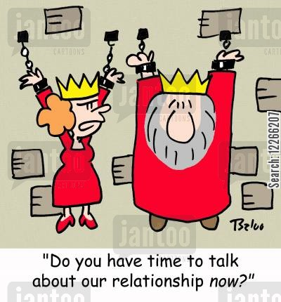 marriage counseling cartoon humor: 'Do we have time to talk about our relationship NOW?'
