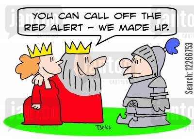 alert cartoon humor: 'You can call off the red alert -- we made up.'