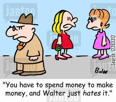 investing money cartoon humor: 'You have to spend money to make money, and Walter just HATES it.'