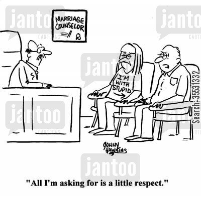 marital issues cartoon humor: Man to Marriage Counselor: 'All I'm asking for is a little respect.'
