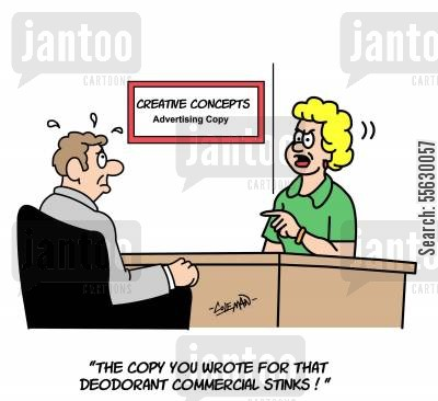 copywriting cartoon humor: Copywriter for Deodorant Commercials