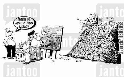 rubbish heap cartoon humor: 'Been in advertising long?' man asks painter, who's painting a pile of rubbish as a beautiful countryside scene.