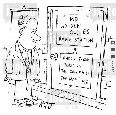 golden oldies cartoon humor: Golden Oldies Radio - Knock Three Times On The Ceiling If You want Me