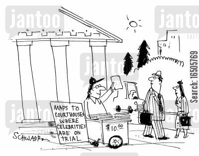 oj simpson cartoon humor: 'Maps to courthouse where celebrities are on trial.'
